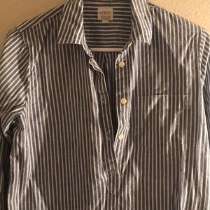 J. Crew blue and white pinstripe popover shirt.